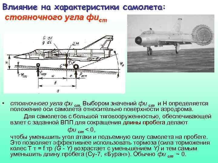 Влияние на характеристики самолета: стояночного угла фист • стояночного угла фи ст. Выбором значений