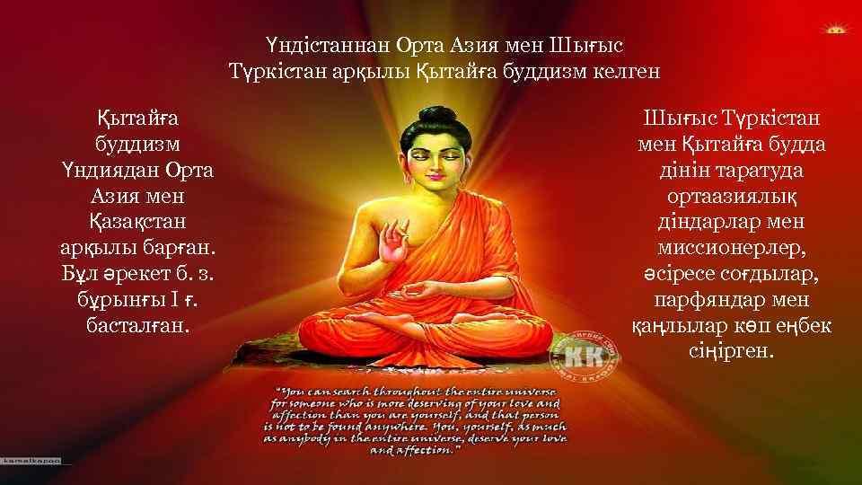 Үндістаннан Орта Азия мен Шығыс Түркістан арқылы Қытайға буддизм келген Қытайға буддизм Үндиядан Орта