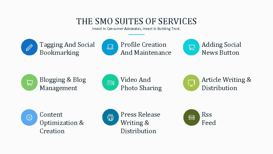 THE SMO SUITES OF SERVICES Invest In Consumer Advocates, Invest In Building Trust. Tagging