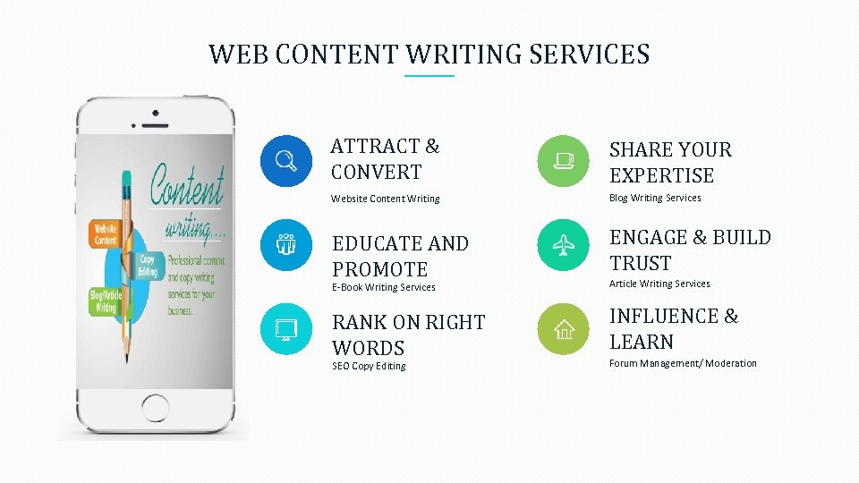 WEB CONTENT WRITING SERVICES ATTRACT & CONVERT SHARE YOUR EXPERTISE Website Content Writing Blog