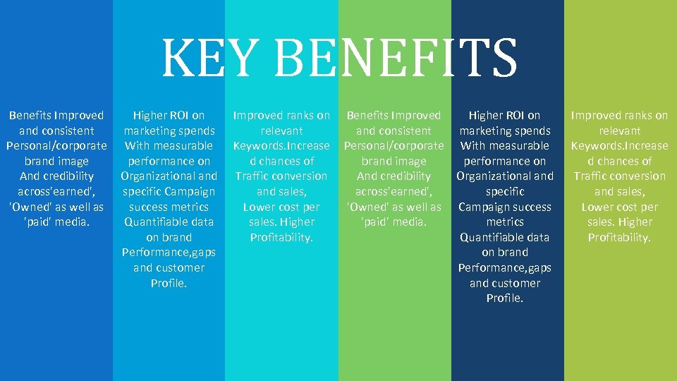 KEY BENEFITS Benefits Improved and consistent Personal/corporate brand image And credibility across'earned', 'Owned' as