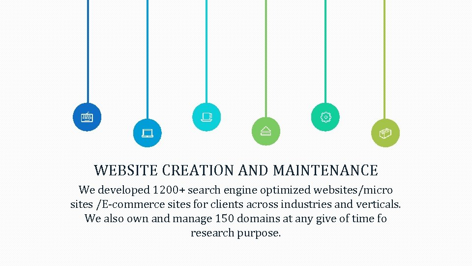 WEBSITE CREATION AND MAINTENANCE We developed 1200+ search engine optimized websites/micro sites /E-commerce sites