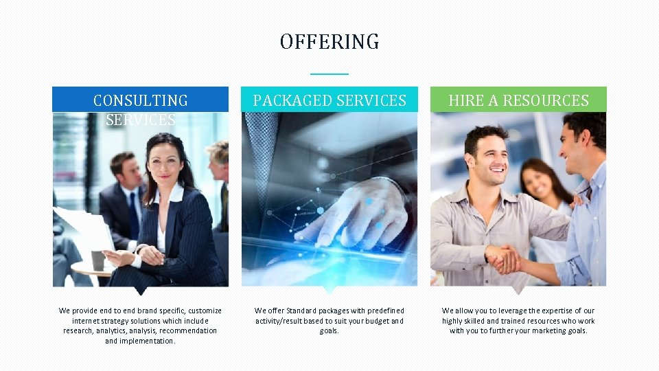 OFFERING CONSULTING SERVICES PACKAGED SERVICES HIRE A RESOURCES We provide end to end brand