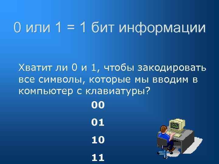0 или 1 = 1 бит информации Хватит ли 0 и 1, чтобы закодировать
