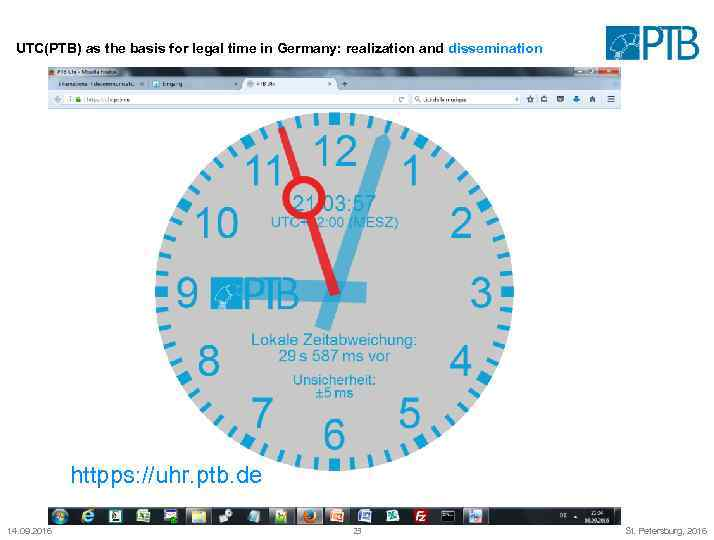 UTC(PTB) as the basis for legal time in Germany: realization and dissemination httpps: //uhr.