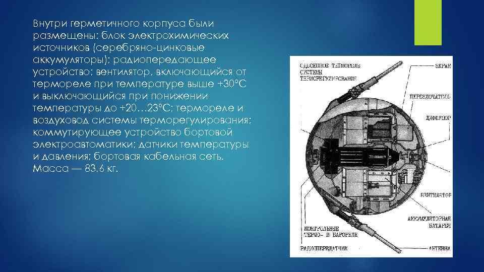 Внутри герметичного корпуса были размещены: блок электрохимических источников (серебряно-цинковые аккумуляторы); радиопередающее устройство; вентилятор, включающийся