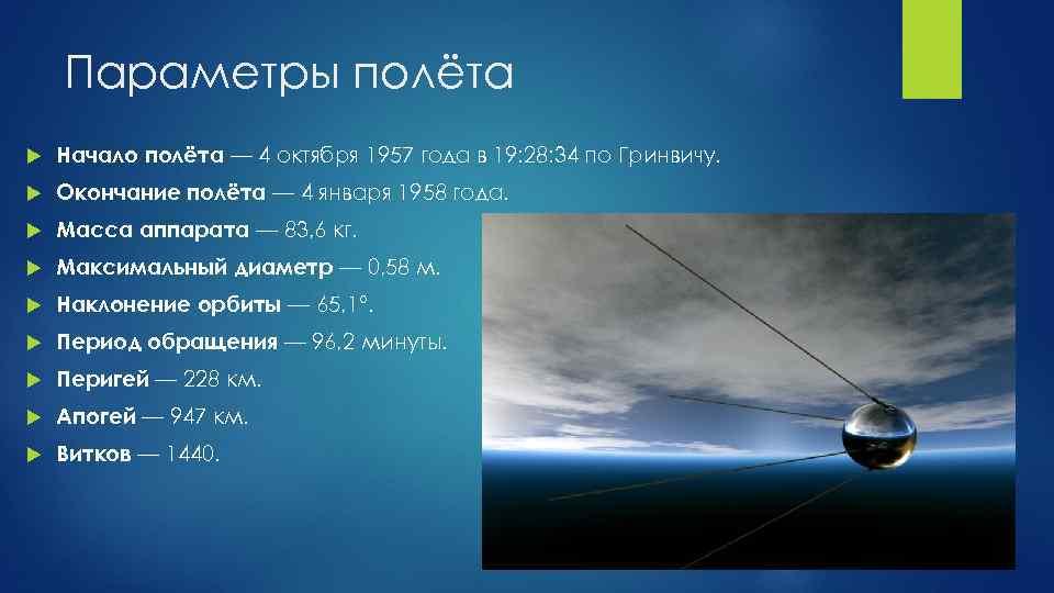 Параметры полёта Начало полёта — 4 октября 1957 года в 19: 28: 34 по