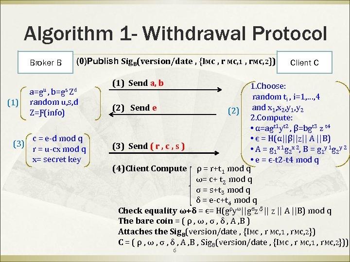 Algorithm 1 - Withdrawal Protocol Broker B (0)Publish Sig. B(version/date , {IMc , r