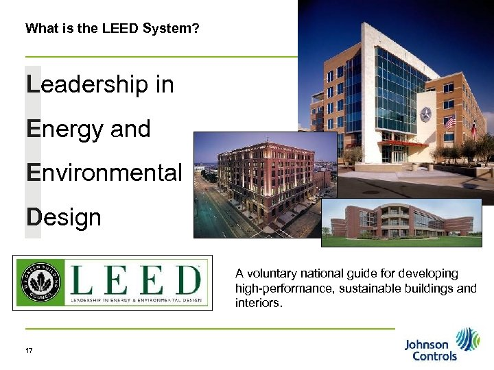 What is the LEED System? Leadership in Energy and Environmental Design A voluntary national