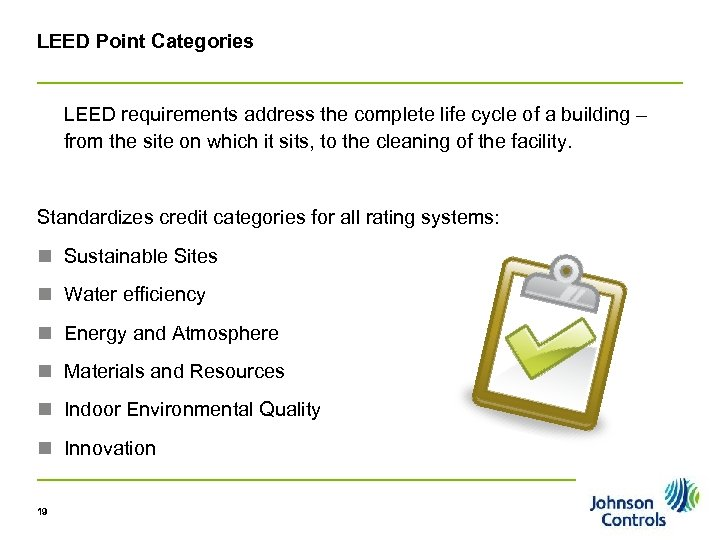 LEED Point Categories LEED requirements address the complete life cycle of a building –
