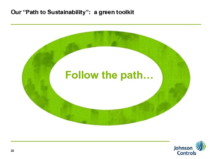 "Our ""Path to Sustainability"": a green toolkit Follow the path… 22 Pg 22"
