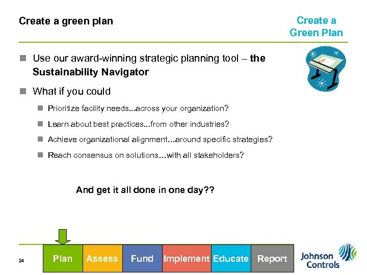 Create a Green Plan Create a green plan n Use our award-winning strategic planning