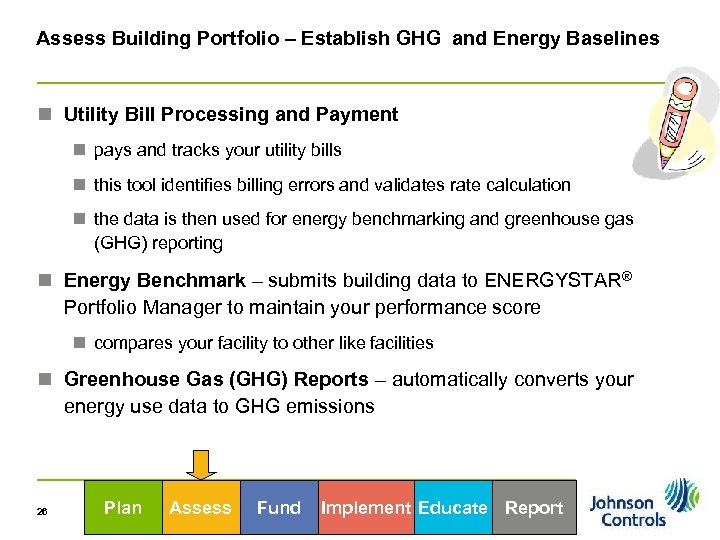 Assess Building Portfolio – Establish GHG and Energy Baselines n Utility Bill Processing and
