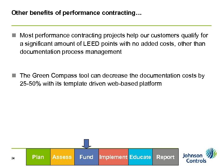 Other benefits of performance contracting… n Most performance contracting projects help our customers qualify