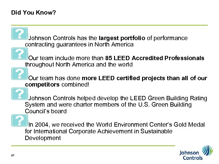 Did You Know? Johnson Controls has the largest portfolio of performance contracting guarantees in