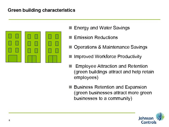 Green building characteristics n Energy and Water Savings n Emission Reductions n Operations &