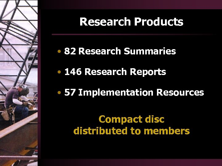Research Products • 82 Research Summaries • 146 Research Reports • 57 Implementation Resources