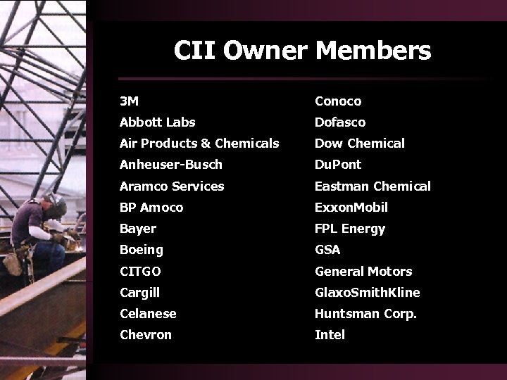 CII Owner Members 3 M Abbott Labs Dofasco Air Products & Chemicals Dow Chemical