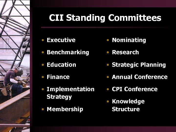 CII Standing Committees • Executive • Nominating • Benchmarking • Research • Education •