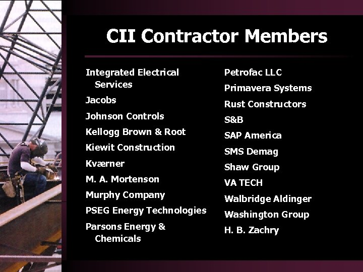 CII Contractor Members Integrated Electrical Services Jacobs Rust Constructors Johnson Controls S&B Kellogg Brown
