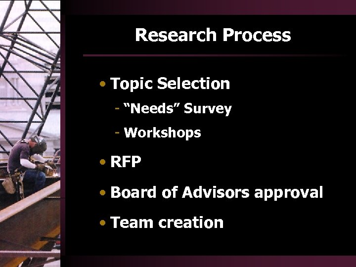 "Research Process • Topic Selection - ""Needs"" Survey - Workshops • RFP • Board"