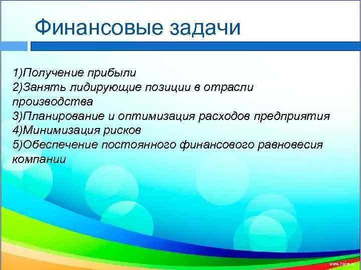 Финансовые задачи 1)Получение прибыли 2)Занять лидирующие позиции в отрасли производства 3)Планирование и оптимизация расходов