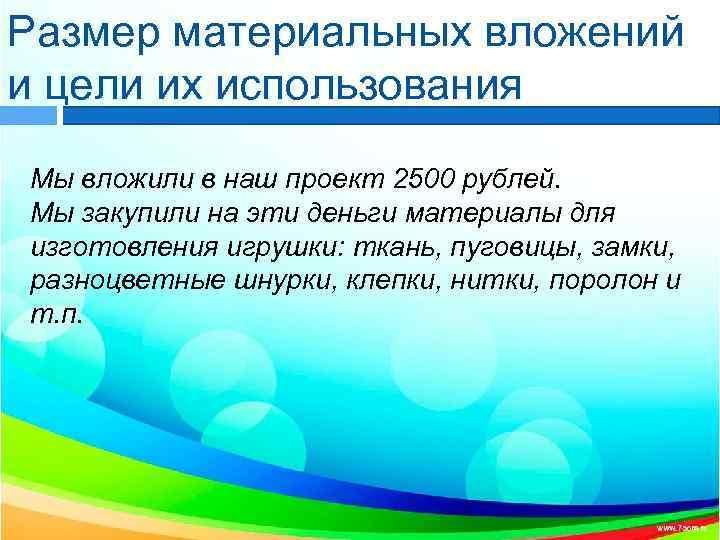 Размер материальных вложений и цели их использования Мы вложили в наш проект 2500 рублей.