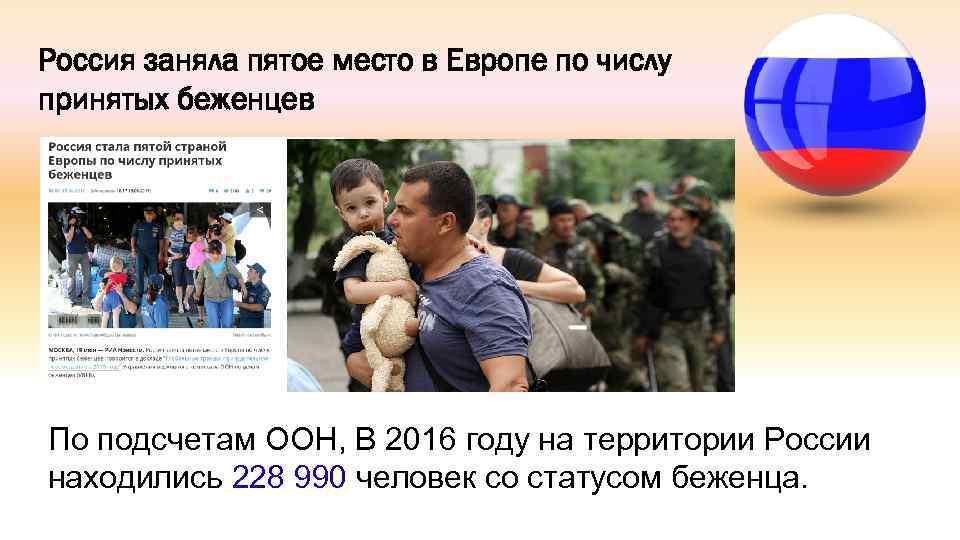 Россия заняла пятое место в Европе по числу принятых беженцев По подсчетам ООН, В