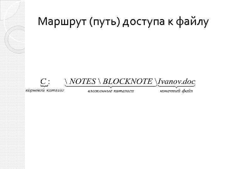 Маршрут (путь) доступа к файлу
