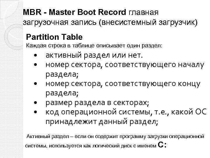 MBR - Master Boot Record главная загрузочная запись (внесистемный загрузчик) Partition Table Каждая строка