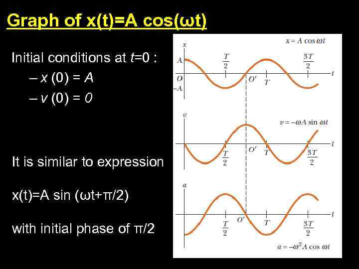 Graph of x(t)=A cos(ωt) Initial conditions at t=0 : – x (0) = A