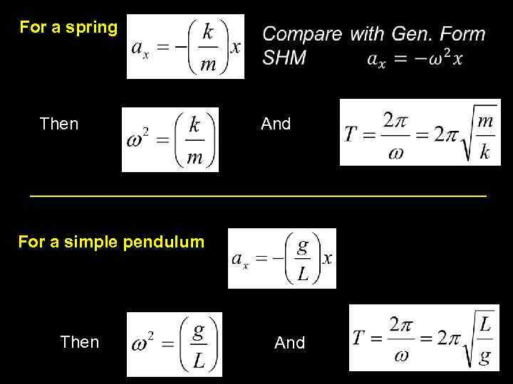 For a spring Then And For a simple pendulum Then And 13