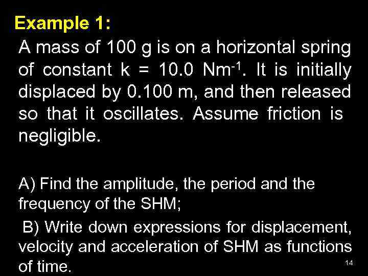 Example 1: A mass of 100 g is on a horizontal spring of constant