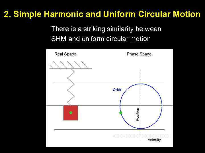 2. Simple Harmonic and Uniform Circular Motion There is a striking similarity between SHM