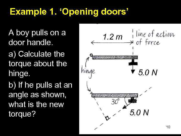 Example 1. 'Opening doors' A boy pulls on a door handle. a) Calculate the
