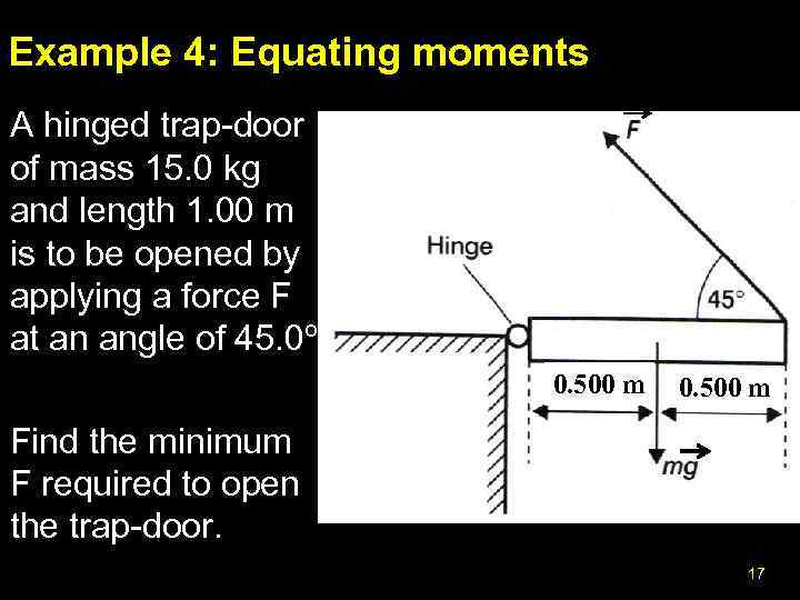 Example 4: Equating moments A hinged trap-door of mass 15. 0 kg and length