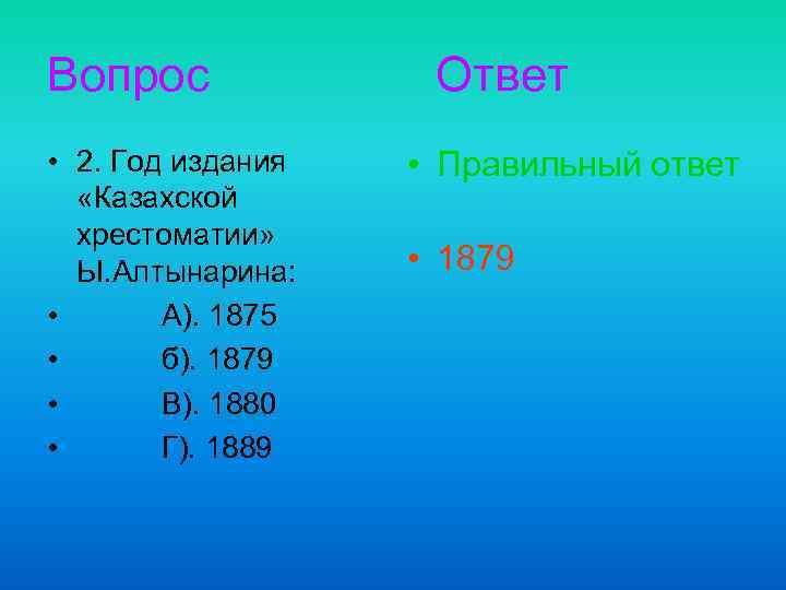 Вопрос • 2. Год издания «Казахской хрестоматии» Ы. Алтынарина: • А). 1875 • б).