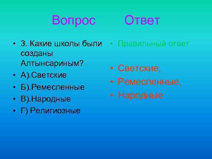 Вопрос • 3. Какие школы были созданы Алтынсариным? • А). Светские • Б). Ремесленные