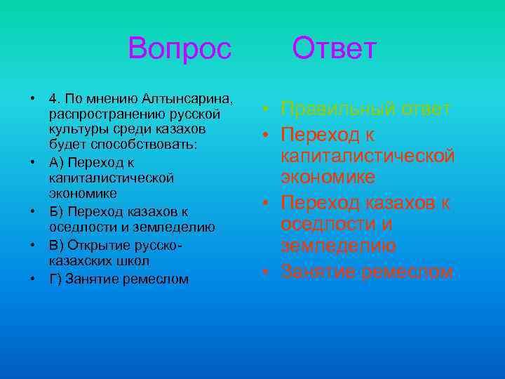 Вопрос • 4. По мнению Алтынсарина, распространению русской культуры среди казахов будет способствовать: •