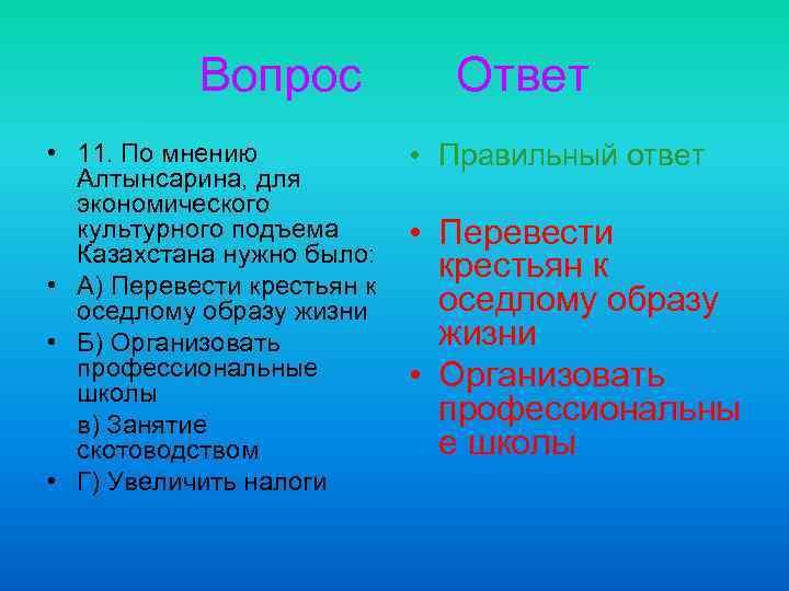Вопрос • 11. По мнению Алтынсарина, для экономического культурного подъема Казахстана нужно было: •