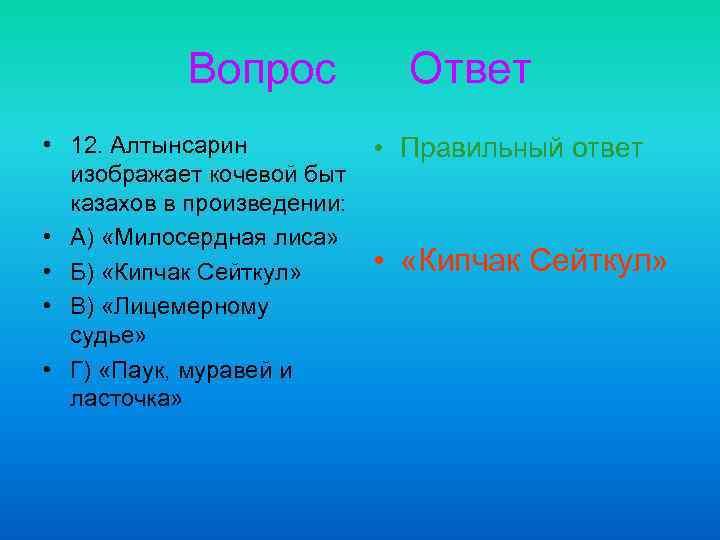 Вопрос • 12. Алтынсарин изображает кочевой быт казахов в произведении: • А) «Милосердная лиса»