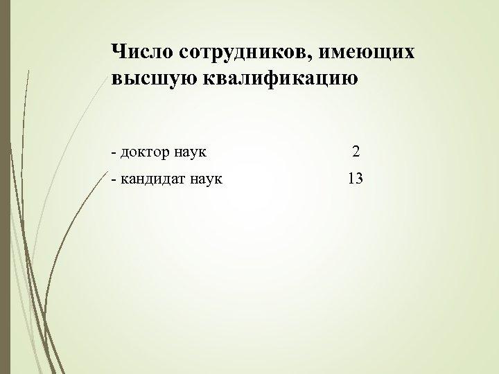 Число сотрудников, имеющих высшую квалификацию - доктор наук 2 - кандидат наук 13