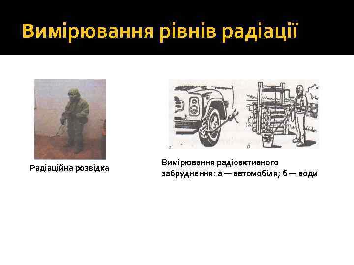Вимірювання рівнів радіації Радіаційна розвідка Вимірювання радіоактивного забруднення: а — автомобіля; б — води