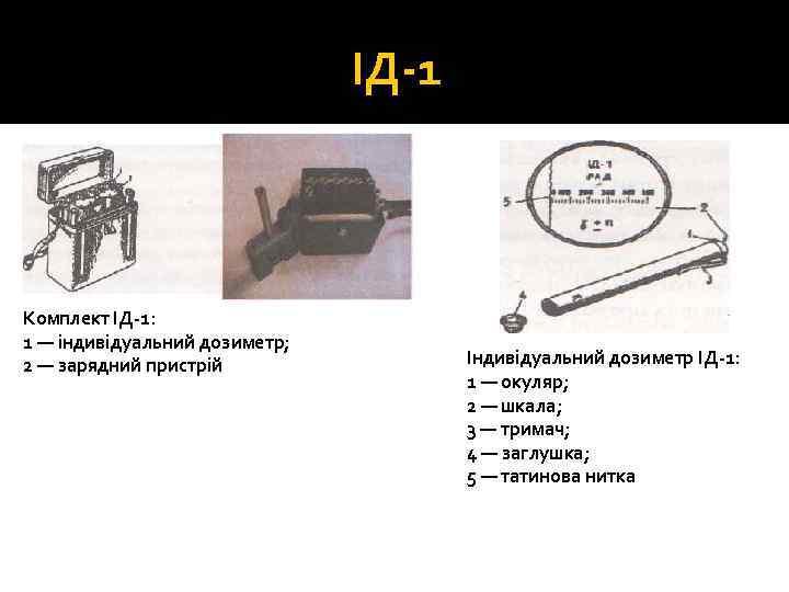ІД 1 Комплект ІД 1: 1 — індивідуальний дозиметр; 2 — зарядний пристрій Індивідуальний