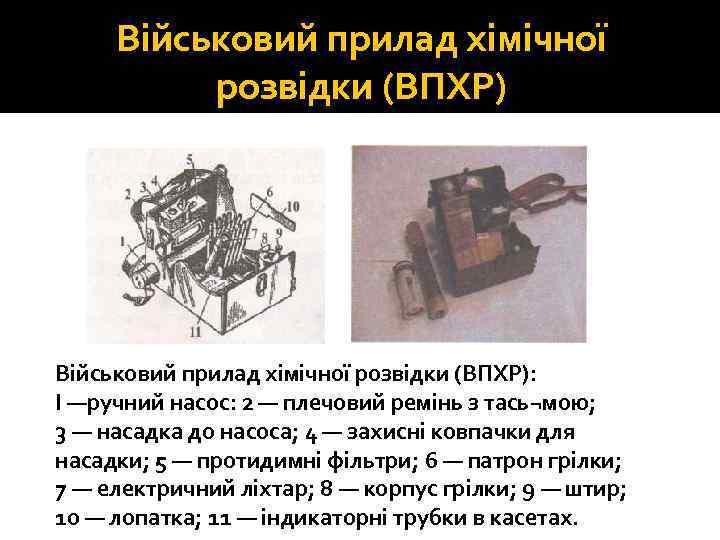 Військовий прилад хімічної розвідки (ВПХР): І —ручний насос: 2 — плечовий ремінь з тась¬мою;