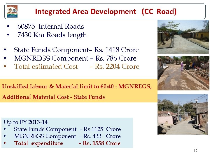 Integrated Area Development (CC Road) • • • 60875 Internal Roads 7430 Km Roads