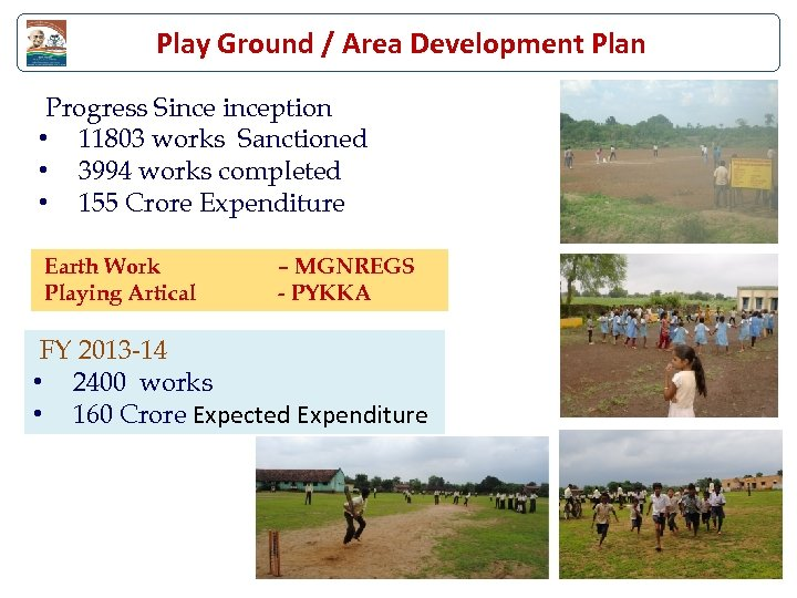 Play Ground / Area Development Plan Progress Sinception • 11803 works Sanctioned • 3994