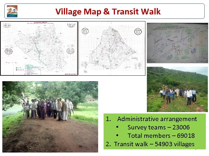 Village Map & Transit Walk 1. Administrative arrangement • Survey teams – 23006 •