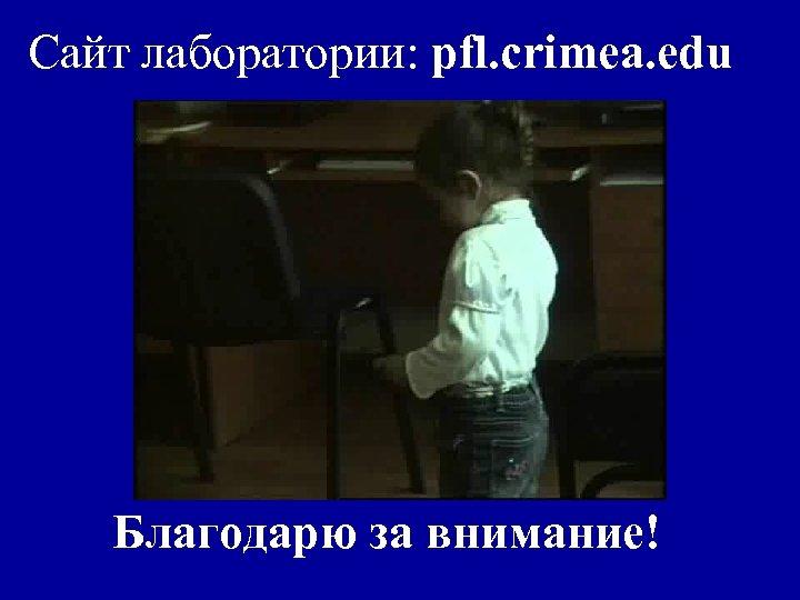 Сайт лаборатории: pfl. crimea. edu Благодарю за внимание!
