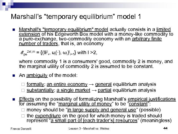 "Marshall's ""temporary equilibrium"" model 1 n Marshall's"